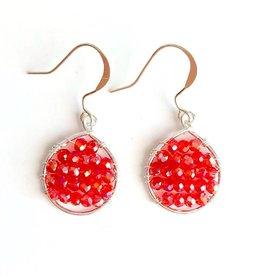 Hinth Oorbellen Lek silverframe-shiny red