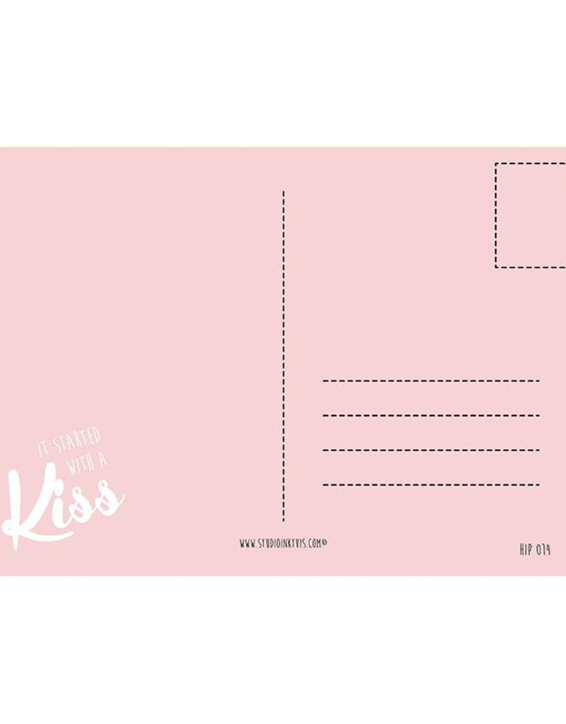 Wenskaart Studio Inktvis-It started with a kiss