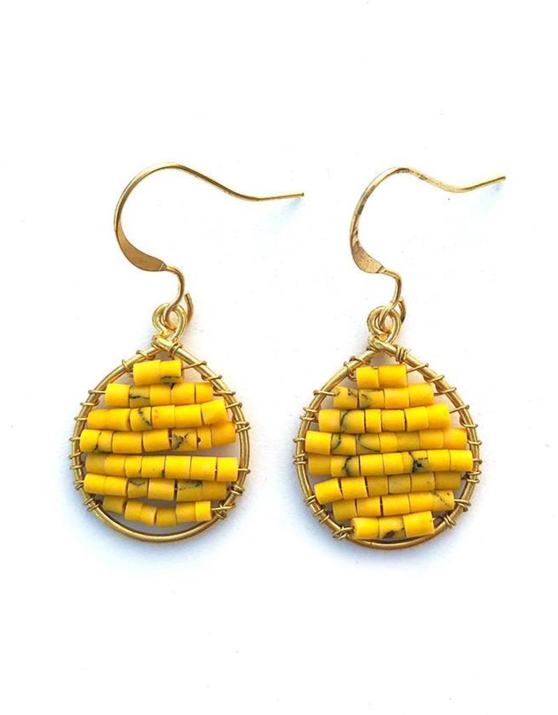 Hinth Oorbellen Lek goldframe-speckels yellow