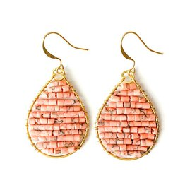 Hinth Oorbellen Monsoon goldframe-speckels salmon