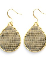Hinth Oorbellen Monsoon goldframe-hematite gold