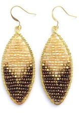 Hinth Oorbellen Petal goldframe-gold bronze