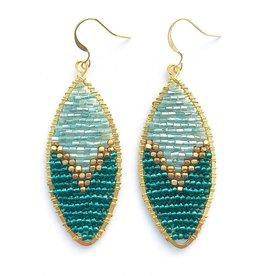 Hinth Oorbellen Petal goldframe-mint turquoise