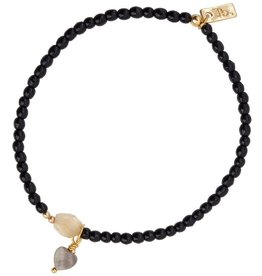Jules Bean Armband Collectabean Mientje-citrine stone/pearl/black stone