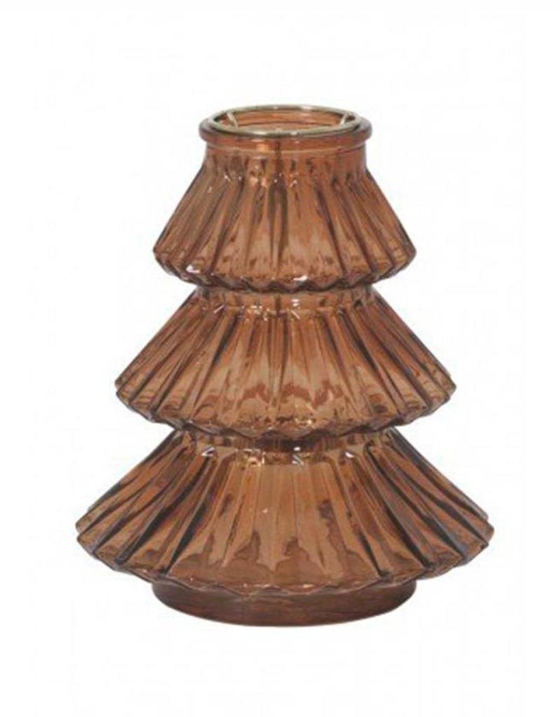 Windlicht Xmas Tree glas-amber