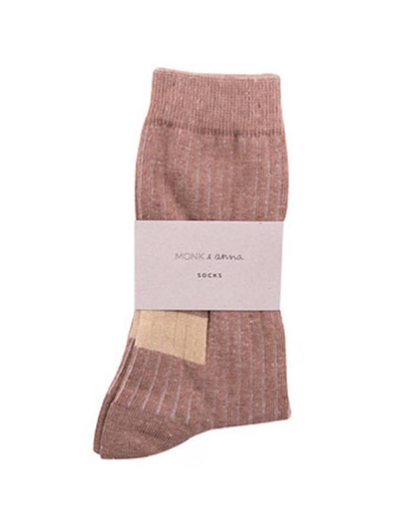 Monk & Anna Socks WOMAN Glitter Stripes-hazelnut