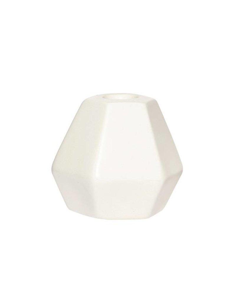 Hubsch Kaarsenhouder Facet Ceramics Medium-white