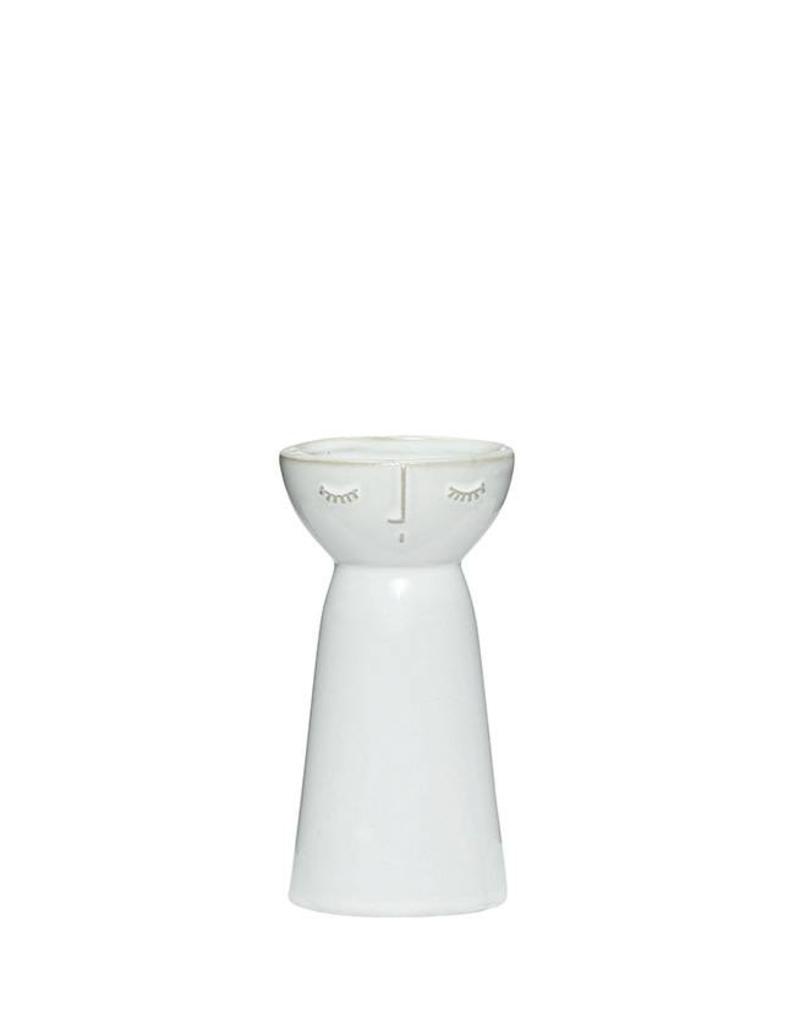 Hubsch Vaas Face Ceramics Small-white