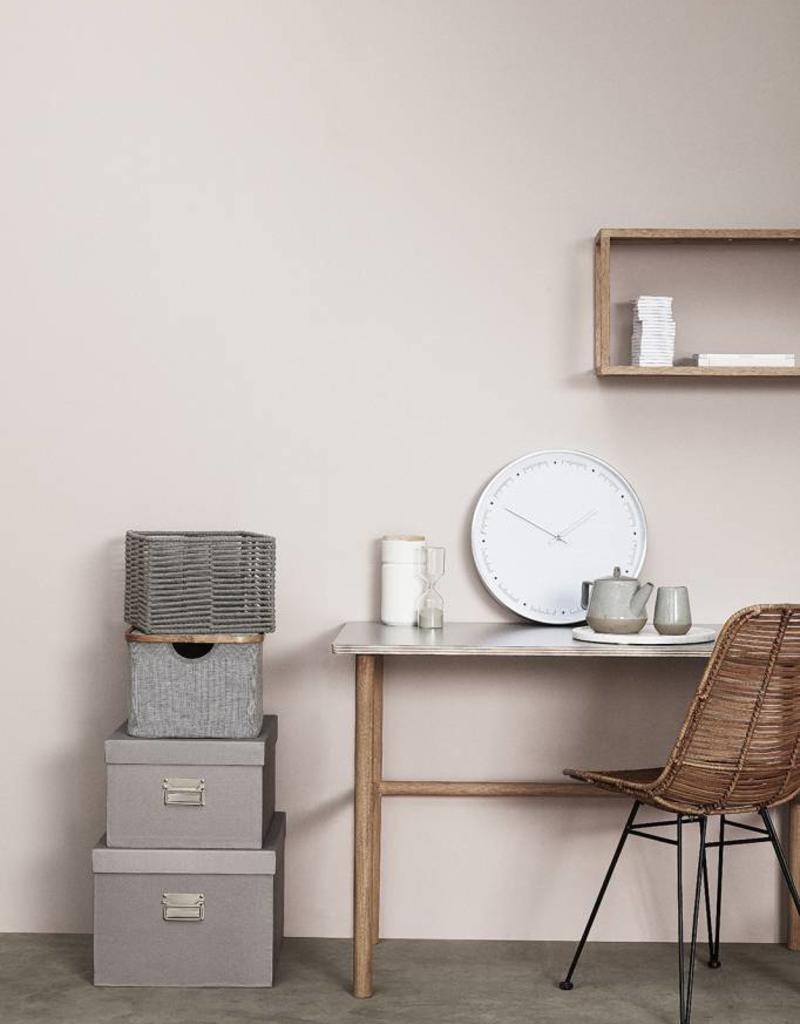 Hubsch Set Voorraadpotten met deksel Ceramics-white/wood