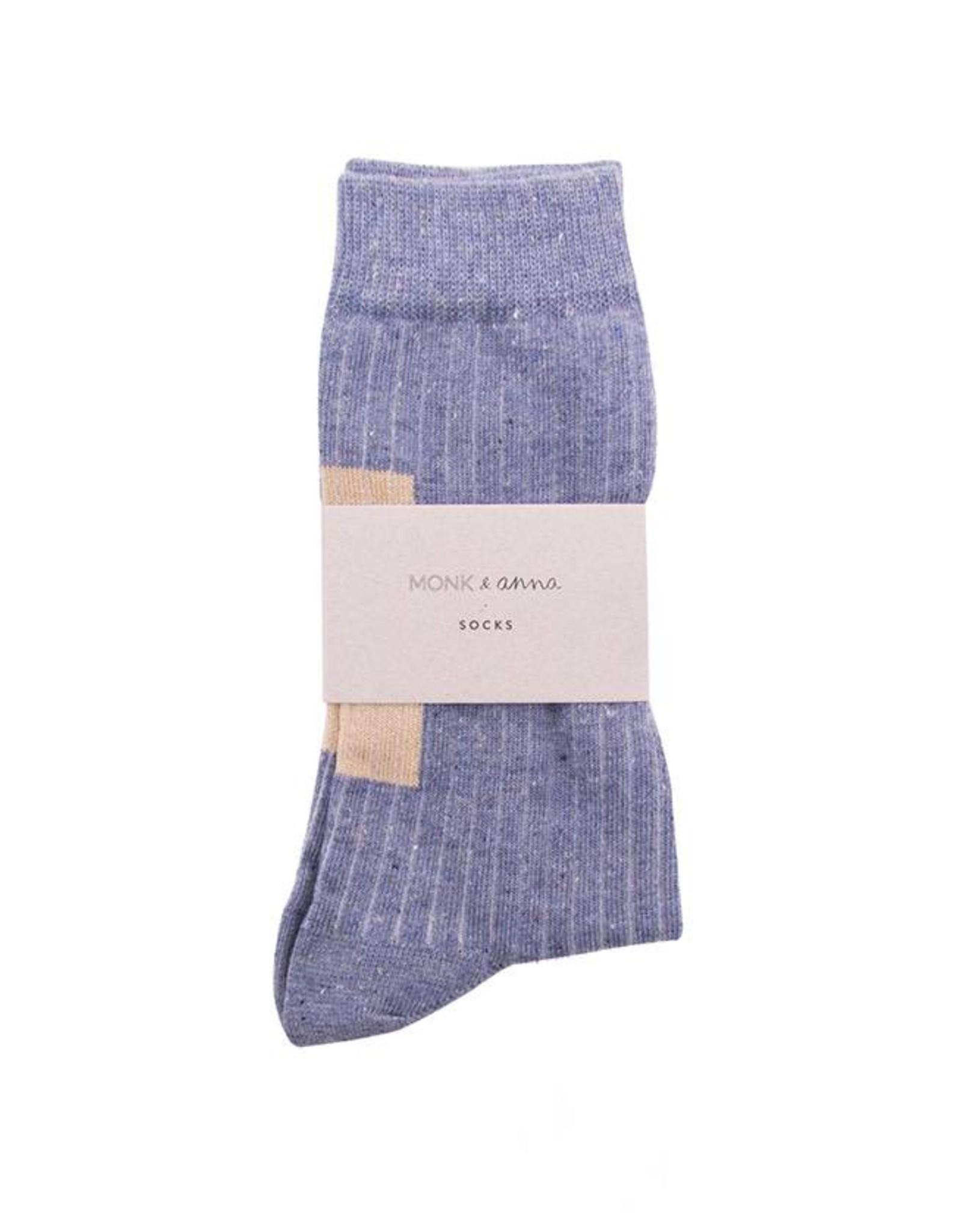 Monk & Anna Socks WOMAN Glitter Stripes-greyish blue