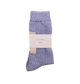 Monk & Anna Socks WOMAN Glitter Stripes-greyish blue