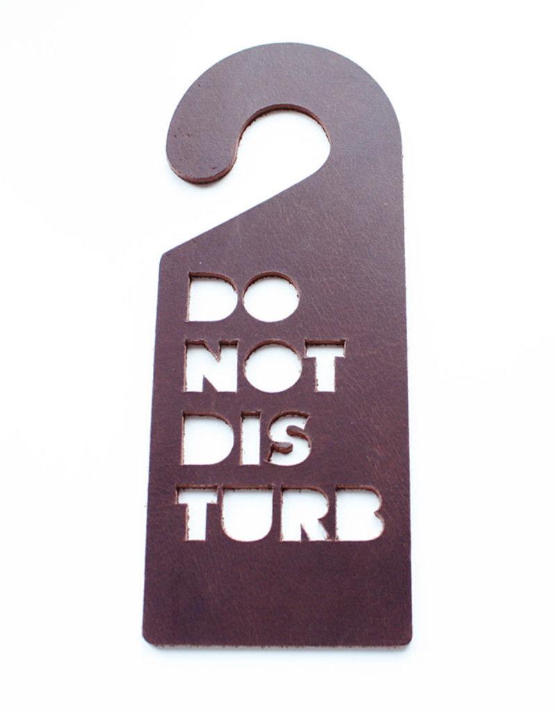 Double Stitched Doorhanger DISTURB-chocolate brown