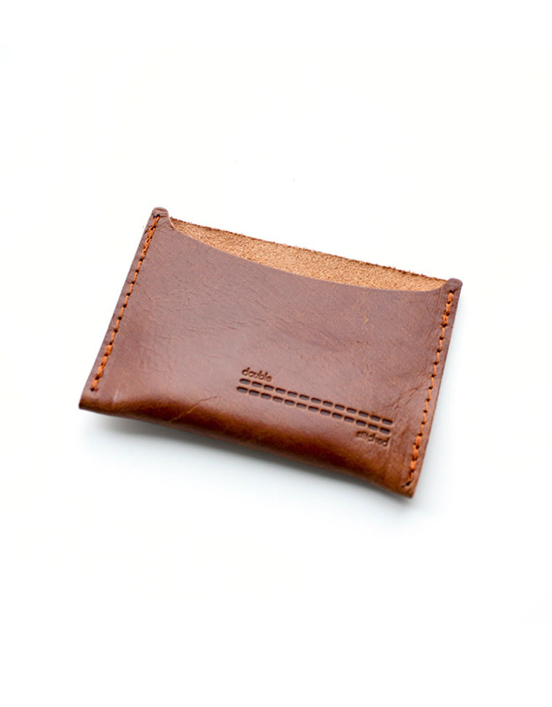 Double Stitched Card Holder-cognac