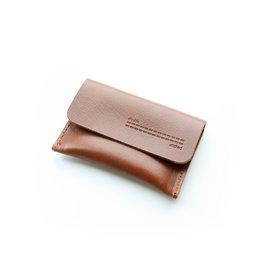 Double Stitched Card Holder Flap-cognac