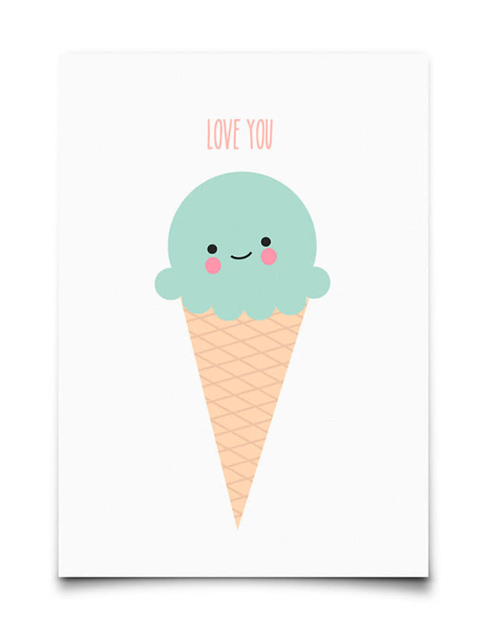 Wenskaart-ice cream love you