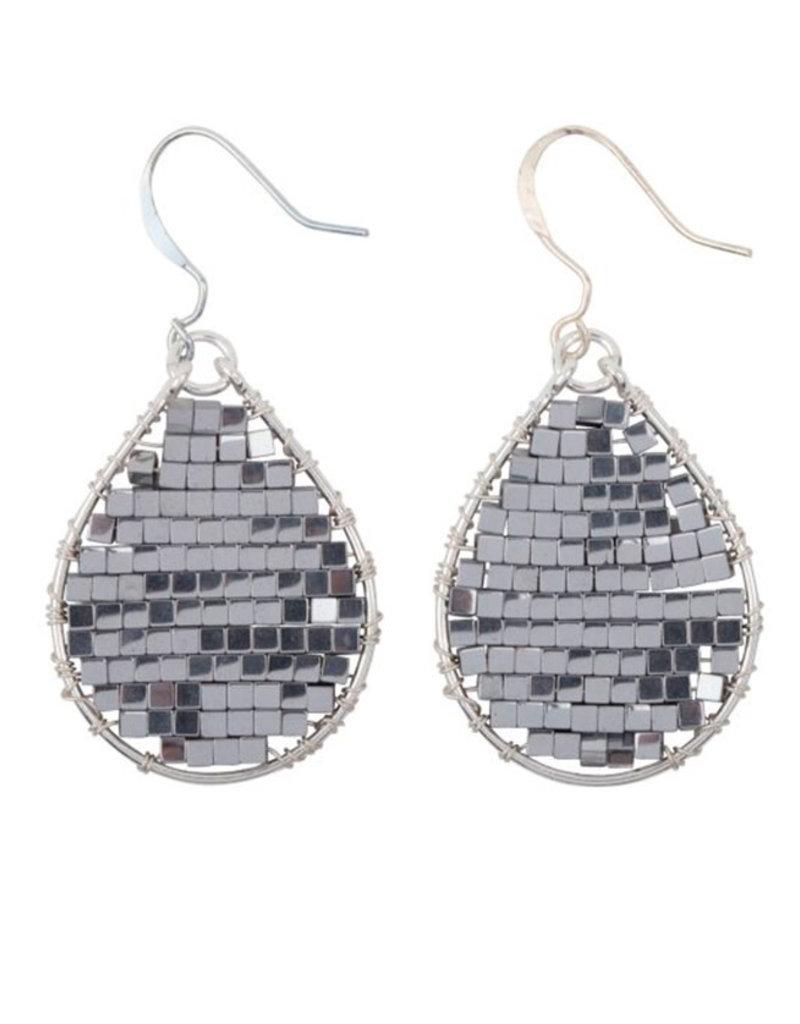 Hinth Oorbellen Monsoon silverframe-hematite silver
