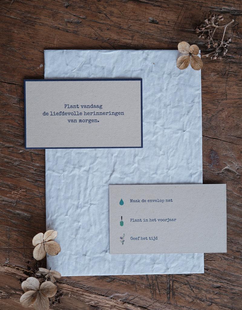 Caduc Afscheidskaart met bloemen enveloppe-zijn