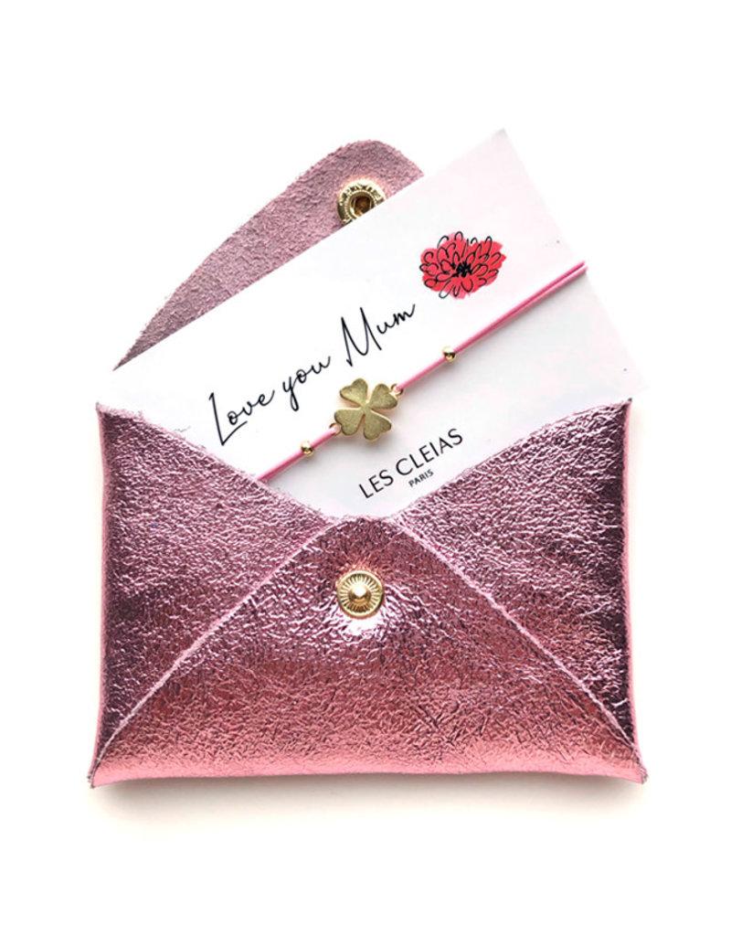 Mini Wallet glitter + Gift bracelet-lila