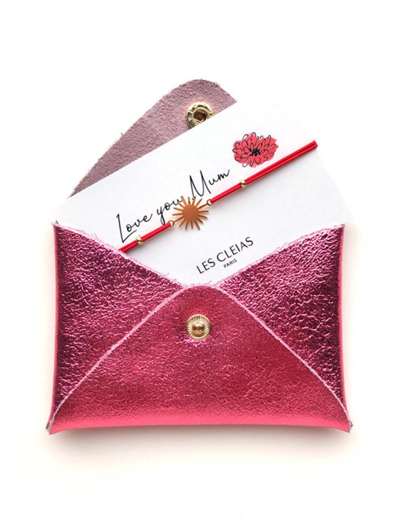 Mini Wallet glitter + Gift bracelet-pink