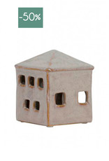 Windlicht House ceramic medium-roze