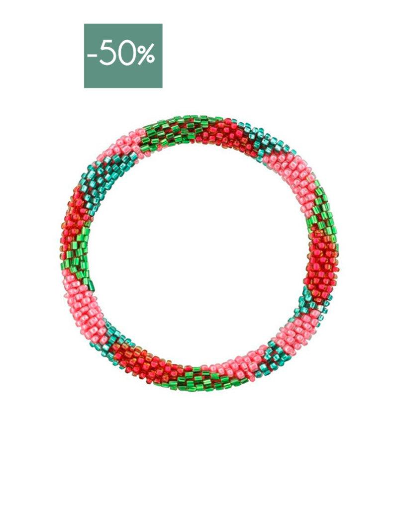My Jewelry Roll-on armband little beads-green/fuchsia