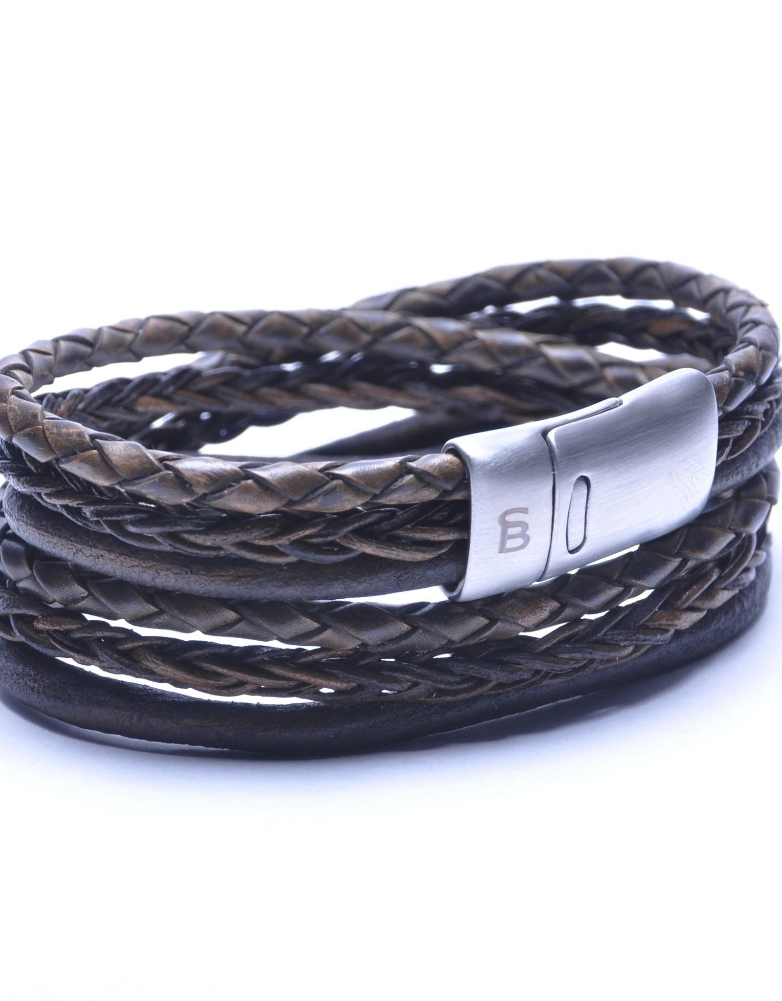 Steel & Barnett Men Bracelet Bonacci Leather-dark brown