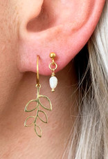 Jules Bean Oorbellen August Assymetric-gold/pearl
