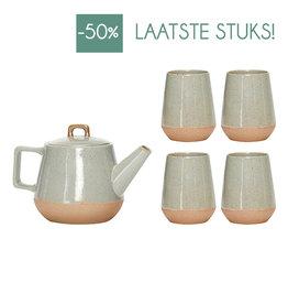 Hubsch Theepot met 4 mugs Ceramics-grey