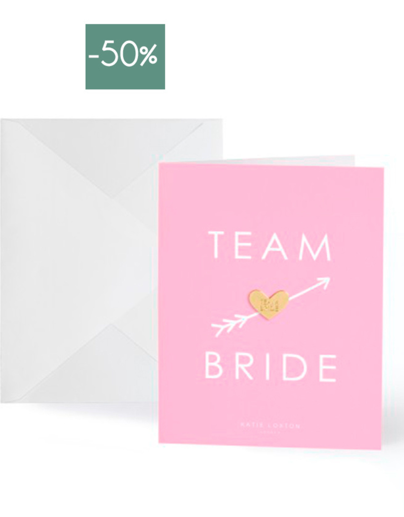 Wenskaart Gold Pin Team Bride-pink