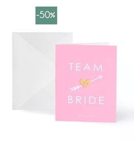 Wenskaart Gold Pin Team Bride-pink