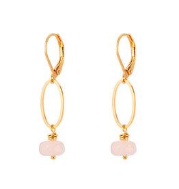 Jules Bean Oorbellen Cecile Stone-gold/rose quartz