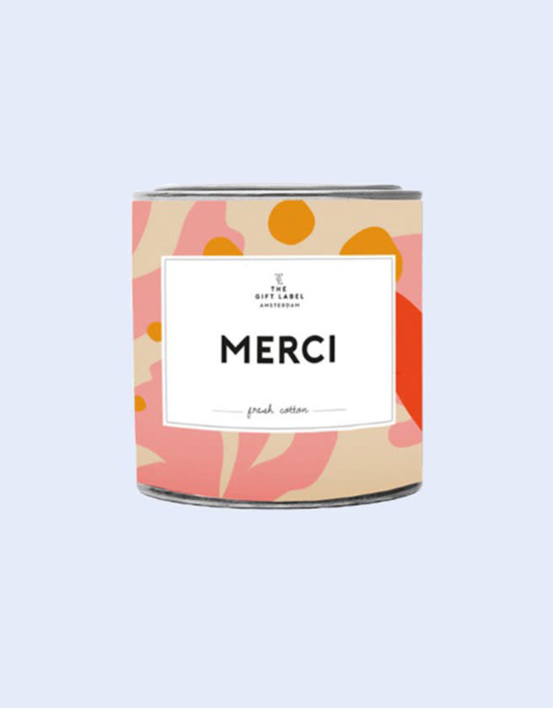 The Gift Label Geurkaars small-Merci (fresh cotton)