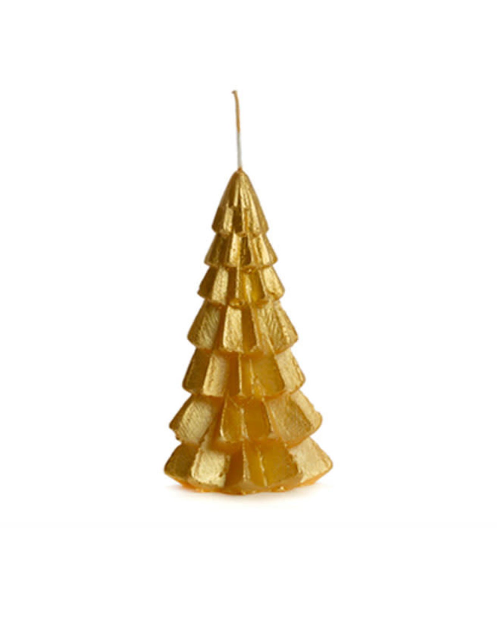Rustik Lys Xmas Tree Candle 6x12cm-gold