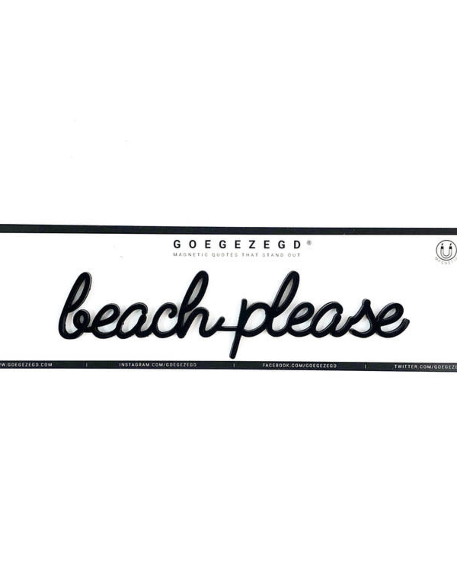 Goegezegd Magnetic Quote Beach Please-black