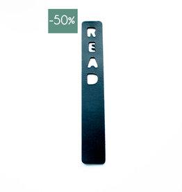 Double Stitched Bookmark READ-carbon black