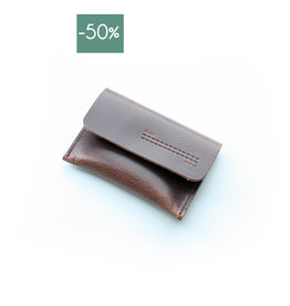 Double Stitched Card Holder Flap-chocolate