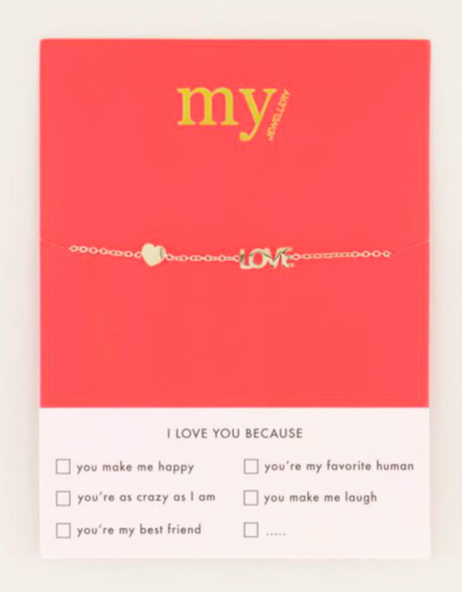 My Jewelry Armband Love & Heart-gold