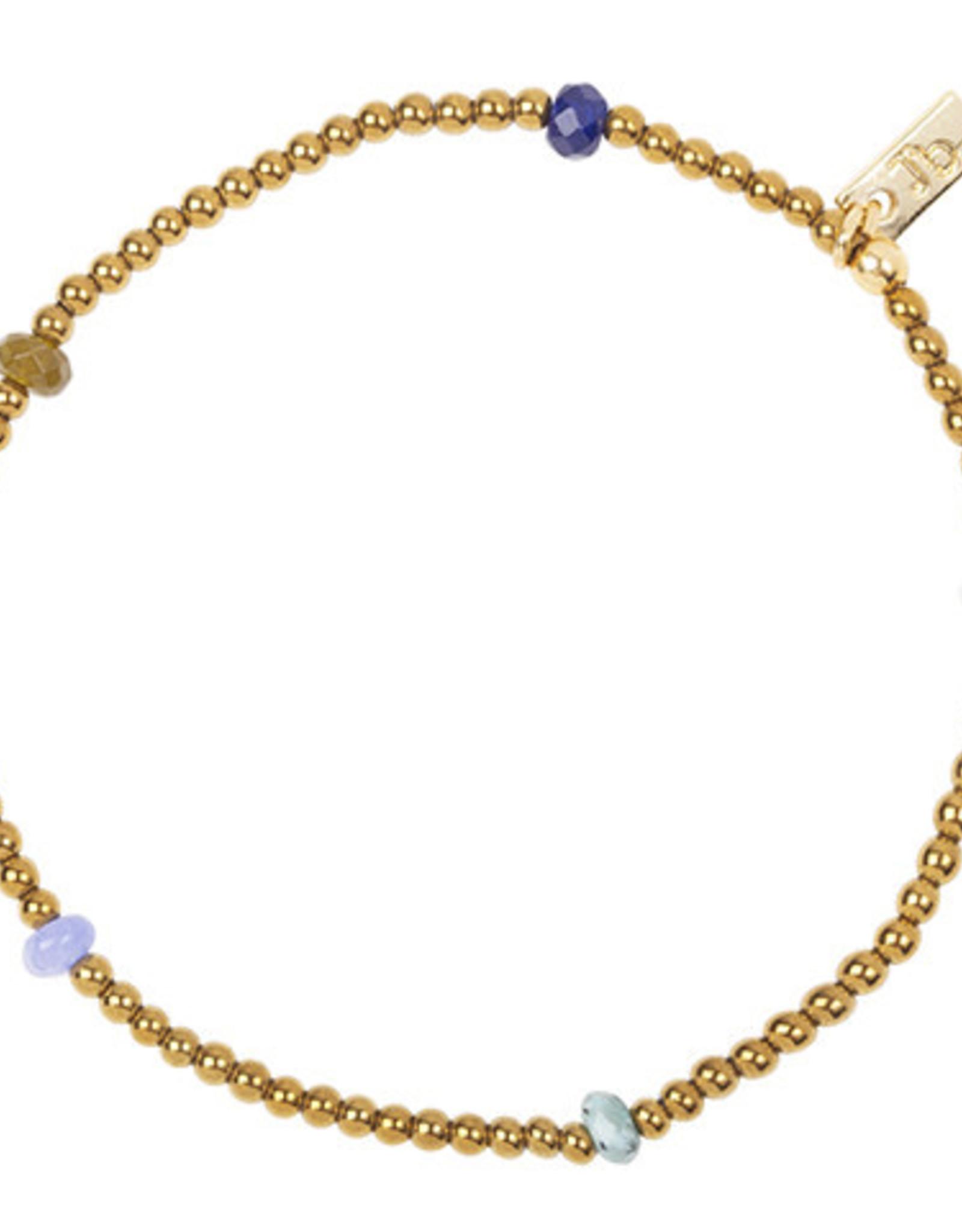 Jules Bean Armband Collectabean Madeleine-gold/rose quartz/jade mix