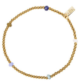 Jules Bean Armband Collectabean Madeleine-gold/rose quartz/jade mix