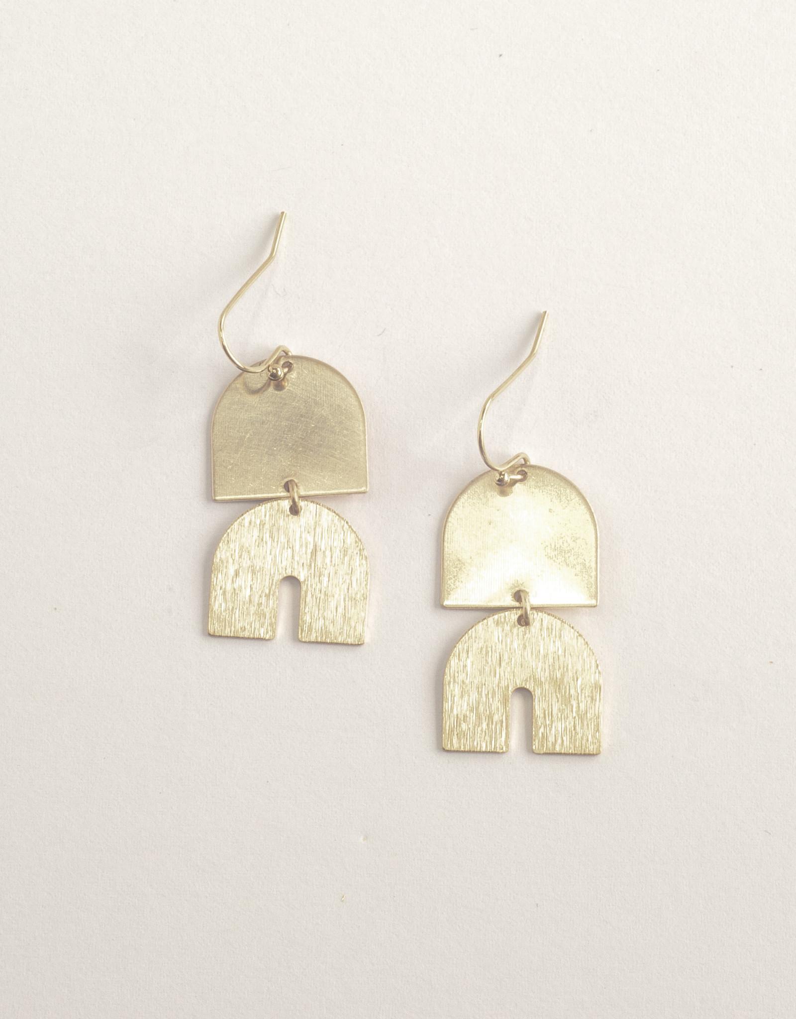 Iniminihomemade Oorbellen Brass Elephant Dangle-gold