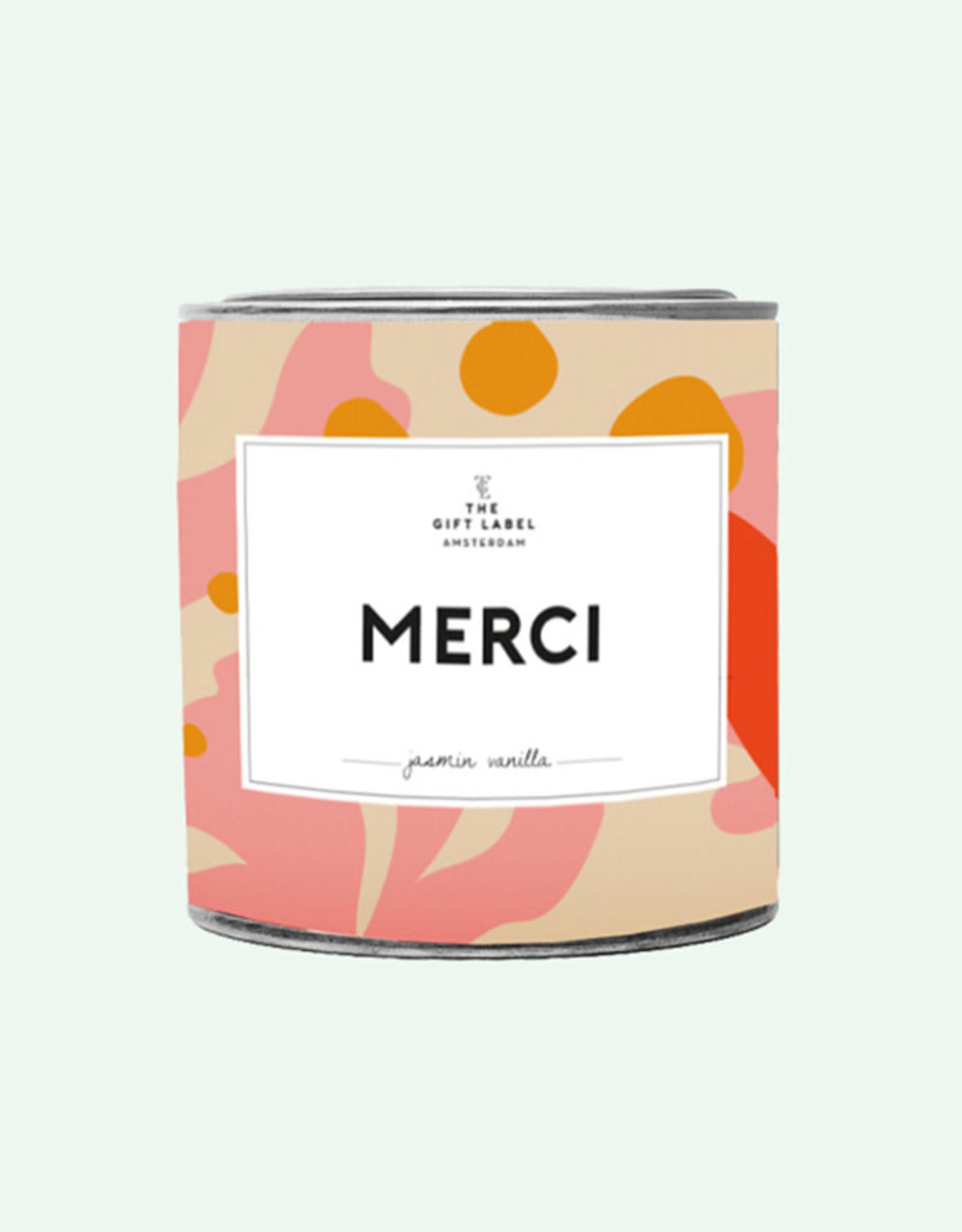 The Gift Label Geurkaars large-Merci (jasmin/vanilla)
