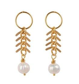 Jules Bean Oorbellen Fishbone Pearl-gold vermeil/pearl
