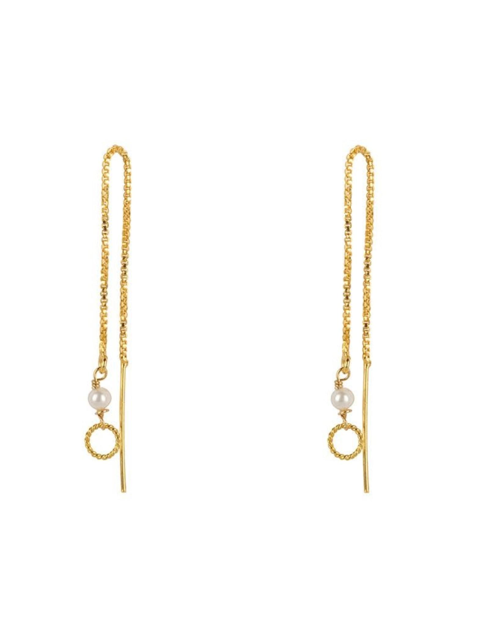 Jules Bean Oorbellen Threader Pearl-gold vermeil/pearl
