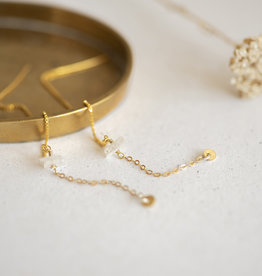 Jules Bean Oorbellen Threader Mystic Moon-gold vermeil/moonstone