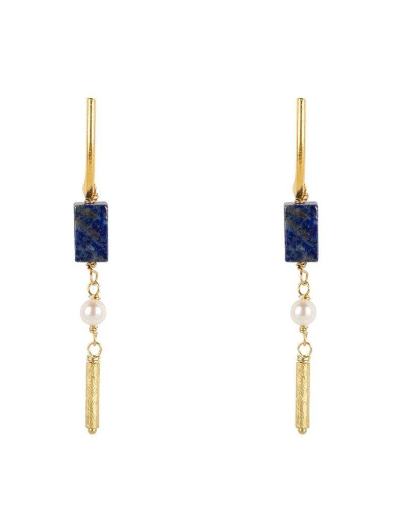 Jules Bean Oorbellen Siri-gold vermeil/lapis lazuli/pearl