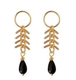Jules Bean Oorbellen Fishbone Onyx-gold vermeil/onyx