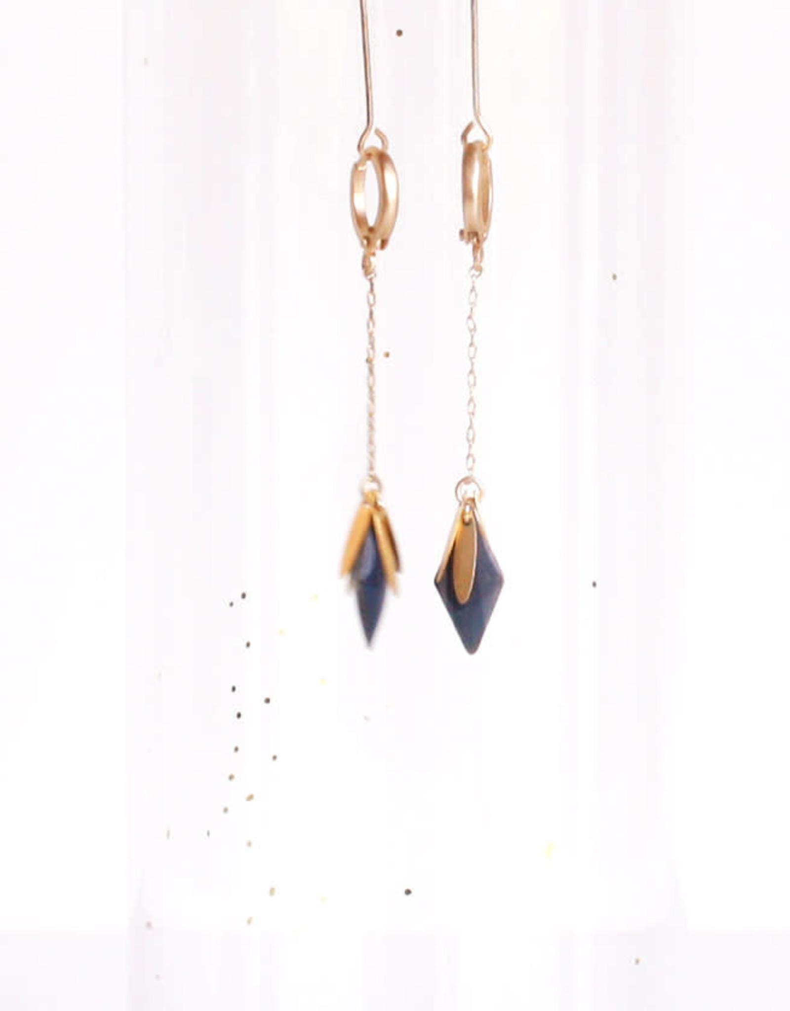 Oorbellen Starlight-gold/blue (doortrek)