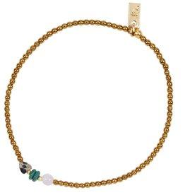 Jules Bean Armband Collectabean Lana-gold/Amethyst/Chrysocolla/Dalmatier Jaspis