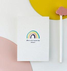Hello August Wenskaart-Speciale dag rainbow