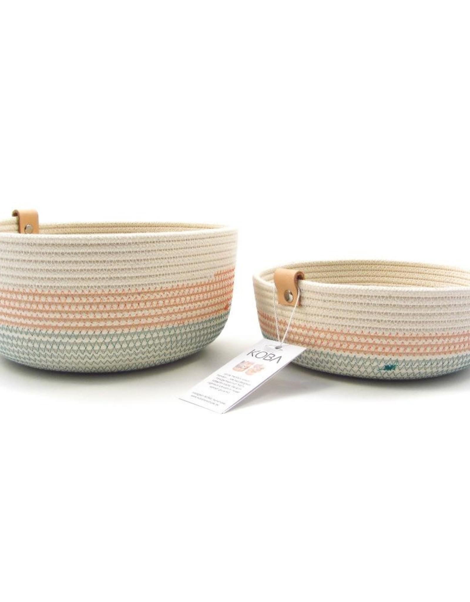 Koba Handmade Bowl Medium Low-turquoise salmon 25x7cm